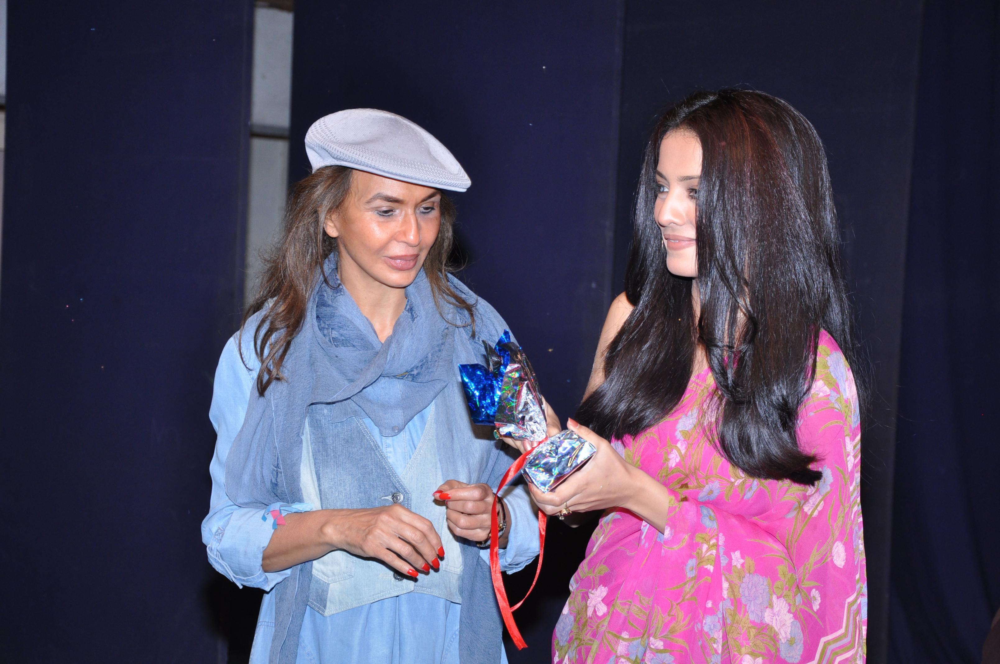 Mrs. Parmeshwar Godrej, Chairman Heroes Project and Ms. Celina Jaitley launching the Aastha Enterpri