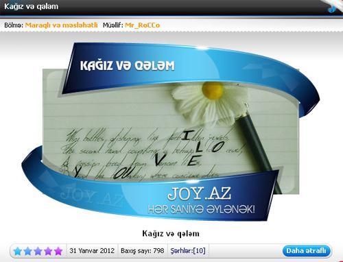 (Zəhmət olmasa və mümkünsə 19.47də aktiv edərsiz)Joy.az ilə keçən 4 il ...