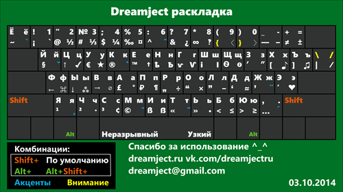 Универсальные Dreamject раскладки (Mac, Windows) (2014) PC, Mac