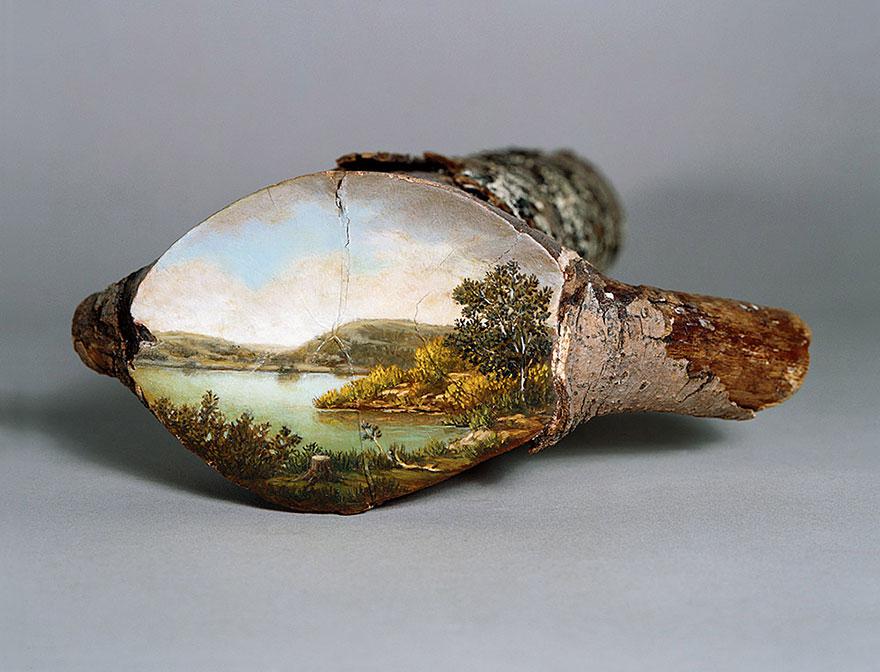 Живопись созданная на срезах деревьев