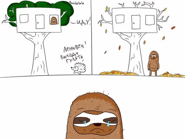 Ленивец вышел погулять