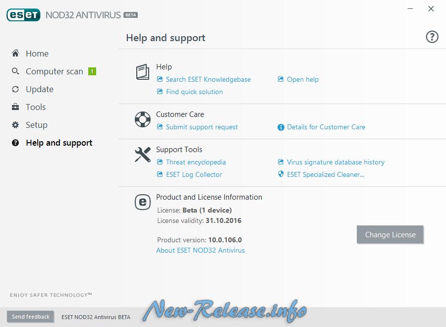 ESET NOD32 Antivirus 2017 10.0.106.0 Beta