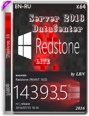 Windows Server 2016 DataCenter 14393.5 LITE by Lopatkin (x64) (2016) Rus/Eng