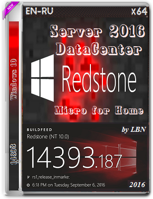 Windows Server 2016 DataCenter 14393.187.1 MICRO by Lopatkin (x64) (2016) Rus/Eng