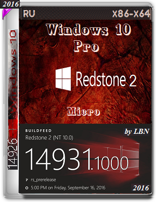 Windows 10 Pro 14931 rs2 MICRO by Lopatkin (x86-x64) (2016) Rus