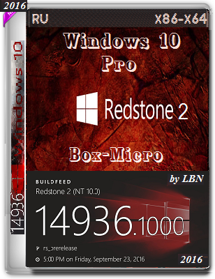 Windows 10 Pro 14936 rs2 BOX-MICRO by Lopatkin (x86-x64) (2016) Rus