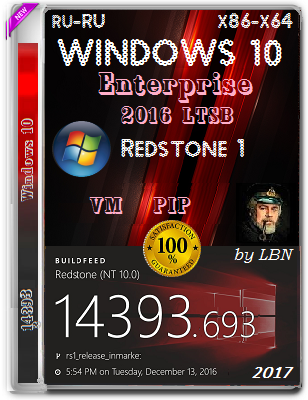 Windows 10 Enterprise 2016 LTSB 14393.693 PIPvm by Lopatkin (x86-x64) (2017) Rus