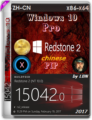Windows 10 Pro 15042.0 rs2 PIP by Lopatkin (x86-x64) (2017) ZH-CN