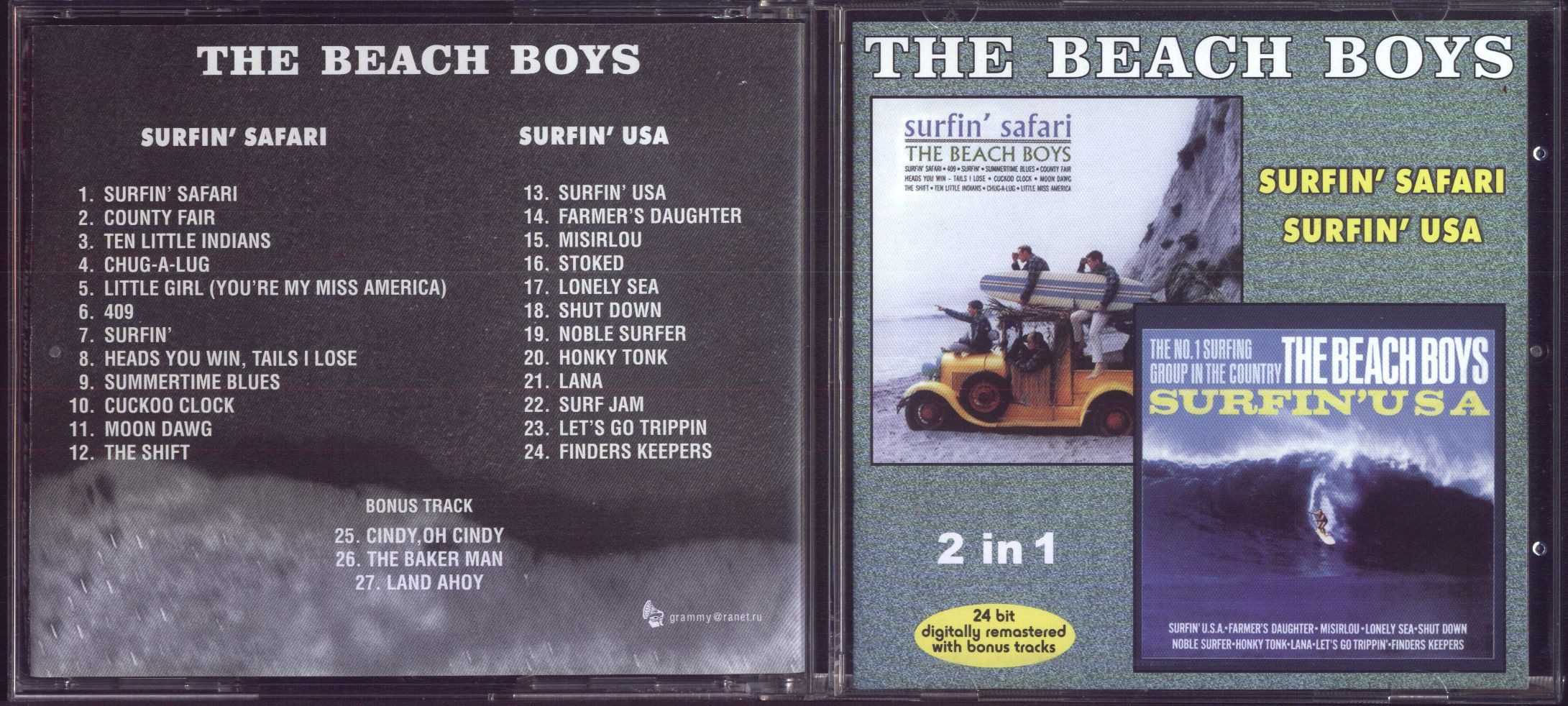 Surfin Safari Surfin U S A 3bonus Trk 2lp S In 1cd Remastered By Beach Boys The Cd With Apexmusic