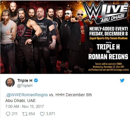 Назначен мейн ивент шоу WWE в Абу Даби