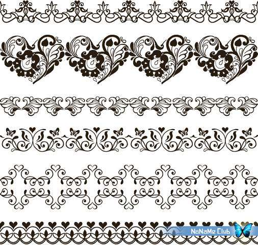 Векторный клипарт - Seamless Floral Borders 52 [AI]
