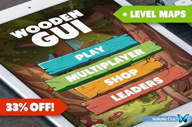 Растровый клипарт - Creative Market - Wooden GUI and Game Level Map BUNDLE - 1541783 [PSD, PNG]