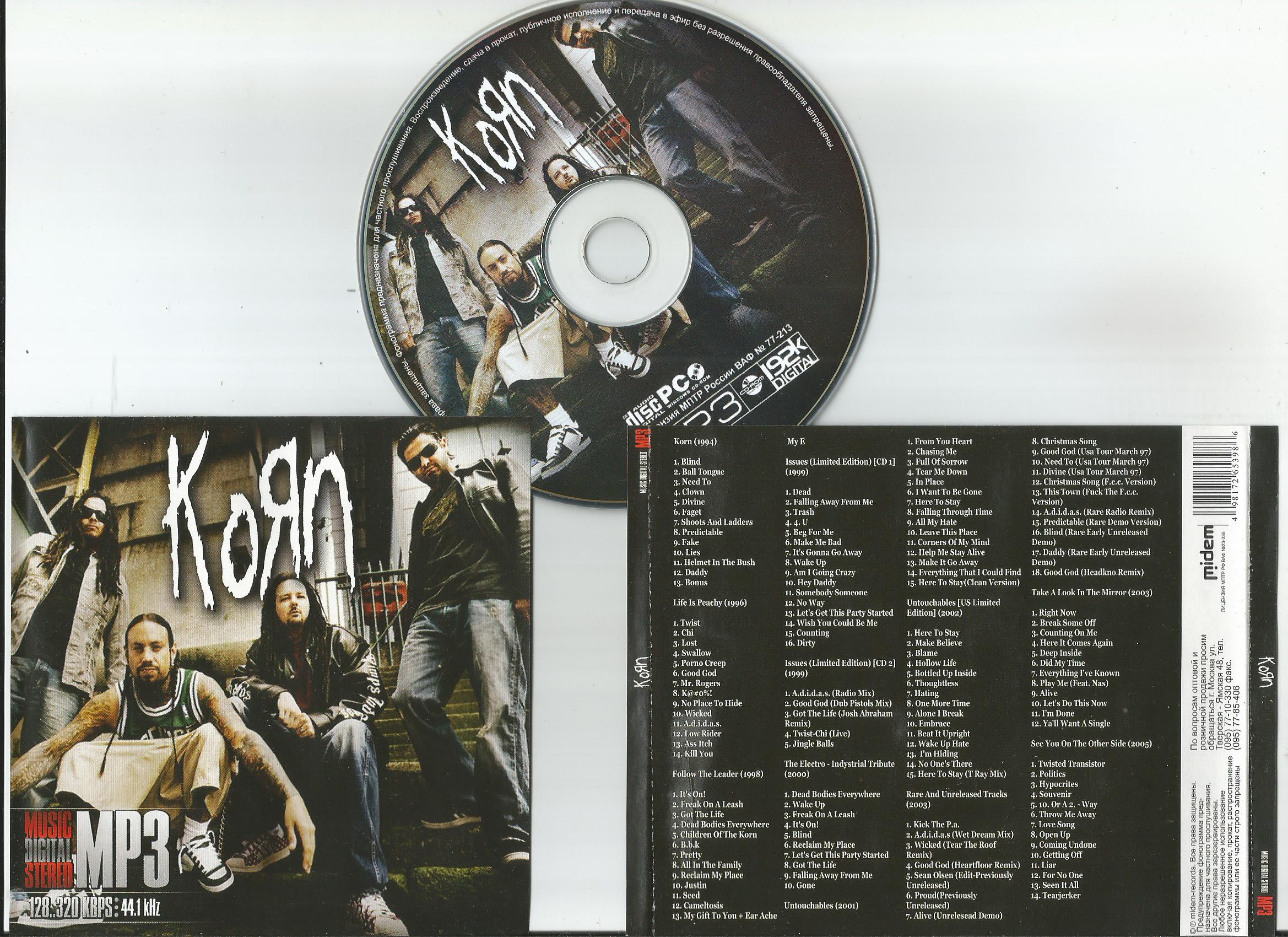 Collection including following full albums korn, life is peachy, follow the  leader, issues (limited by Korn, CD with apexmusic