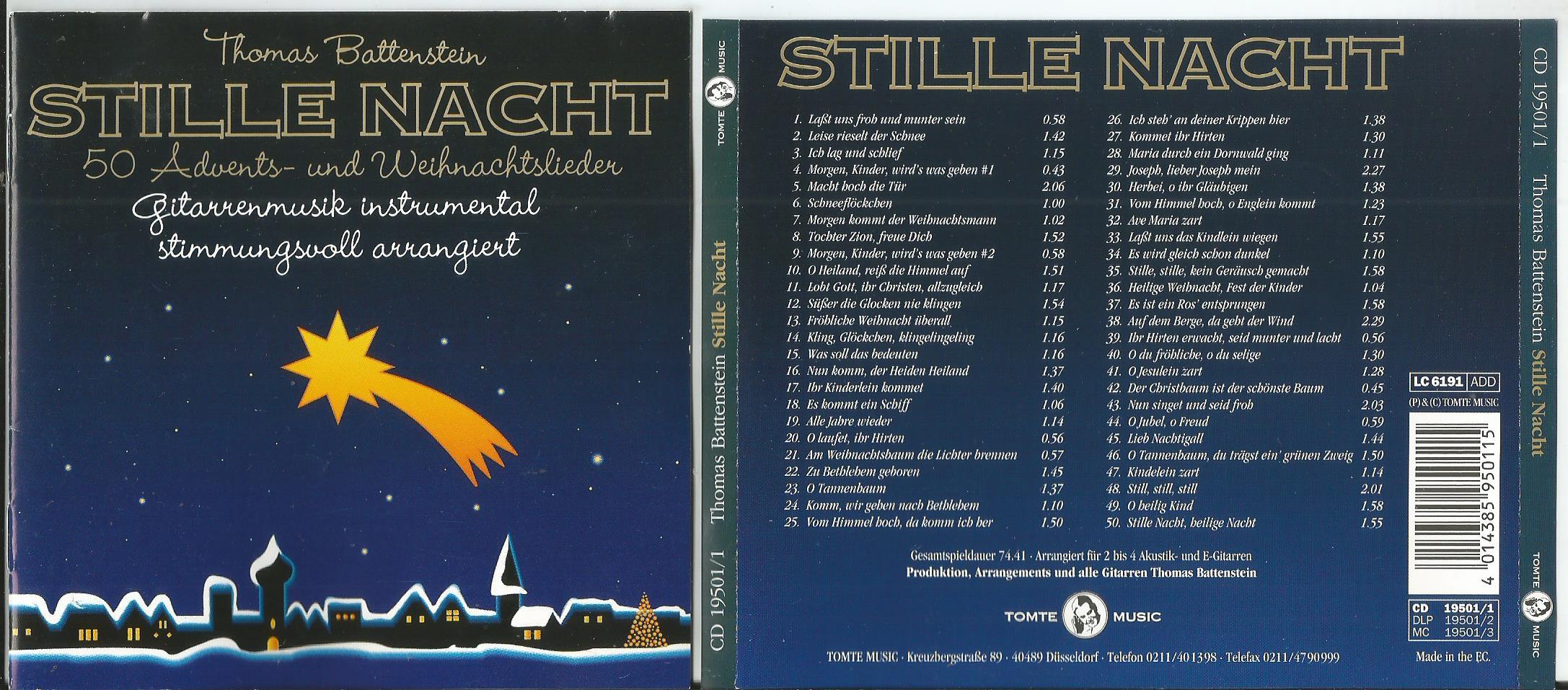 Weihnachtslieder Cd.Battenstein Thomas Stille Nacht 50 Advents Und Weihnachtslieder