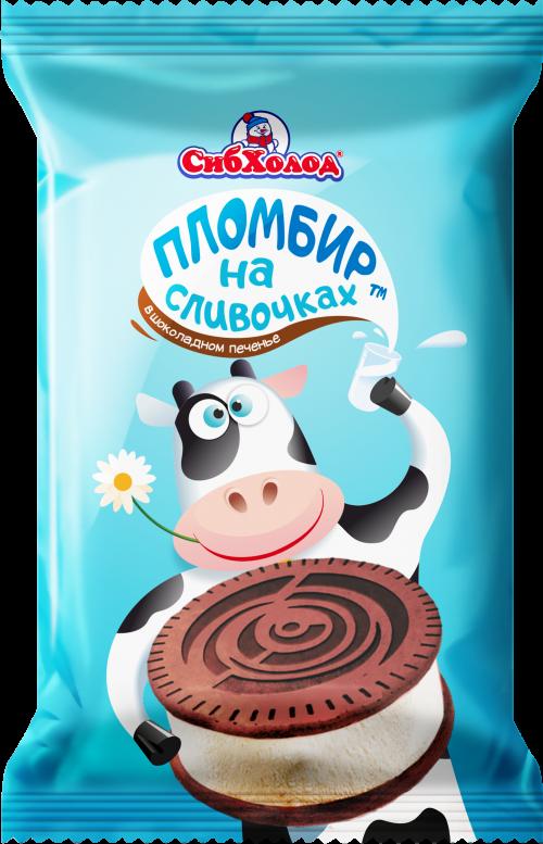 """Сэндвич """"На сливочках"""", пломбир ванильн. в шокол.печенье, 70г"""