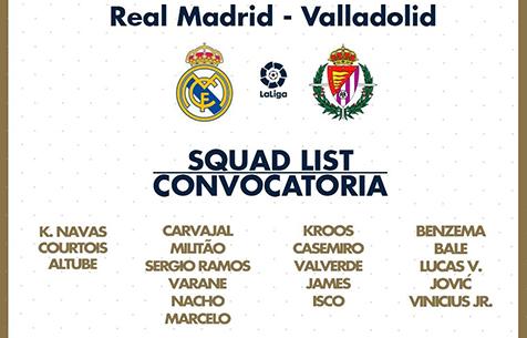"""Заявка """"Мадрида"""" на игру против """"Вальядолида"""""""