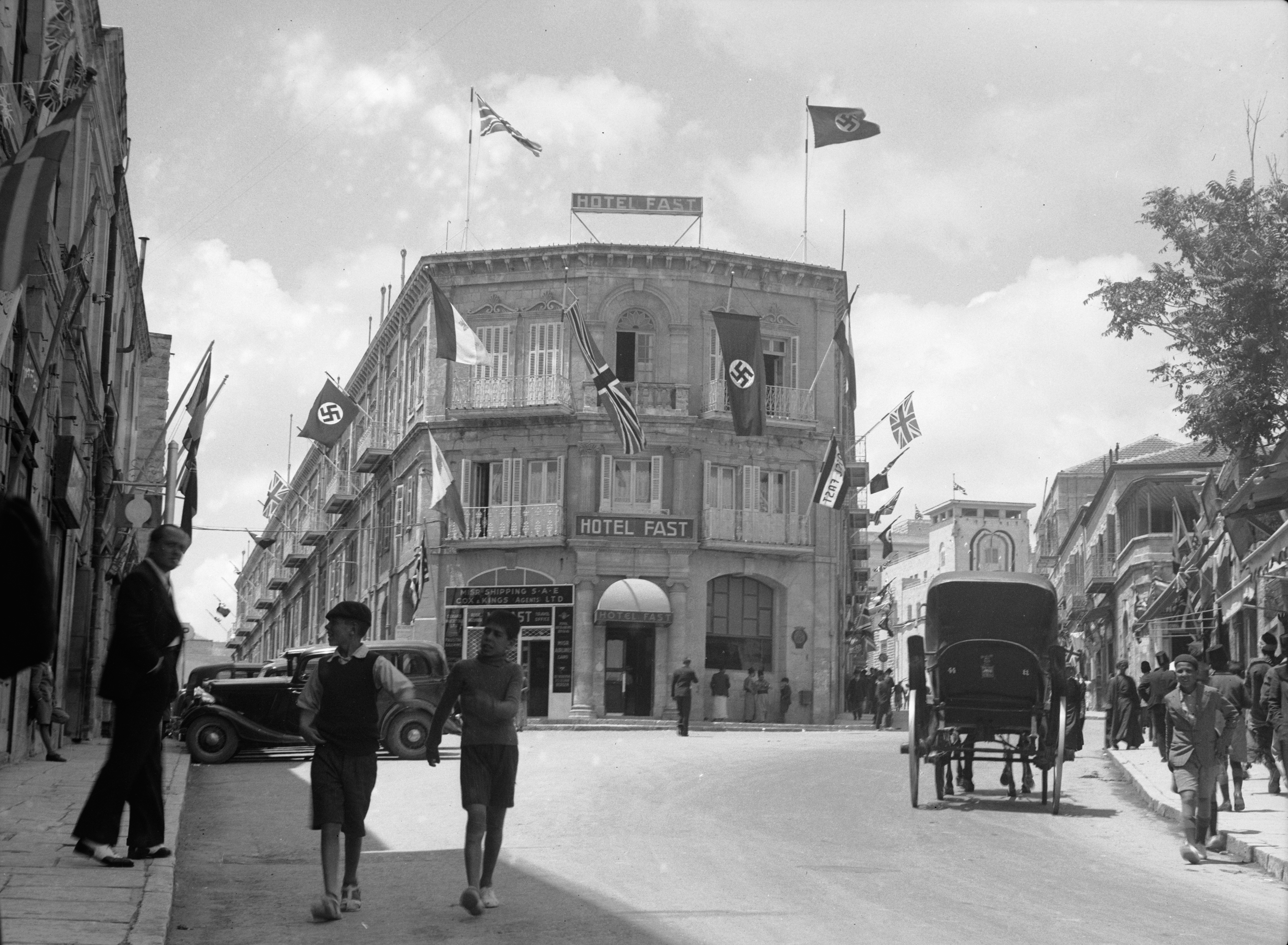 British_and_Nazi_flags_flying_from_the_Fast_Hotel._matpc.16994.jpg